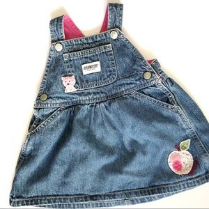 Oshkosh Jean Overall Dress With Kitty  Patch
